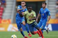 Johan Carbonero en el partido de la selección Colombia sub-20 ante Ucrania.