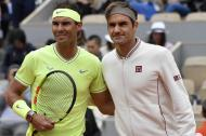 El tenista español Rafael Nadal junto al suizo Roger Federer.