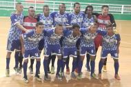 El equipo de Barranquilleros FS ante el Atlético Santander, en Bucaramanga.