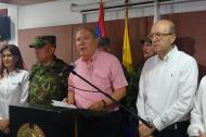 El ministro de Defensa, Guillermo Botero durante su conferencia de prensa en Santa Marta.