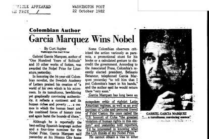 En un artículo del Washington Post, titulado 'García Márquez wins Nobel', publicado el 22 de octubre de 1982.