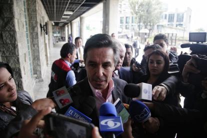 Roberto Prieto, a su llegada este jueves al búnker de la Fiscalía de Bogotá.