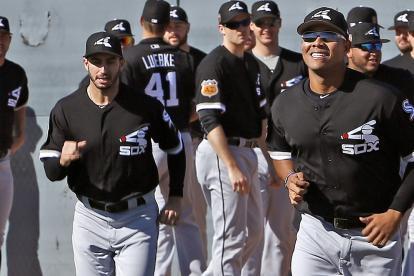 Quintana, en la derecha, en el campo de entrenamiento de Medias Blancas.