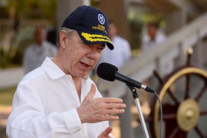 El presidente Juan Manuel Santos durante el acto de este sábado.