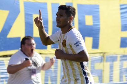 El delantero barranquillero celebra la anotación de este sábado frente a Tigre.