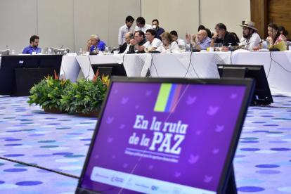 Reunión realizada este sábado entre el Gobierno Nacional y las Farc en Cartagena.