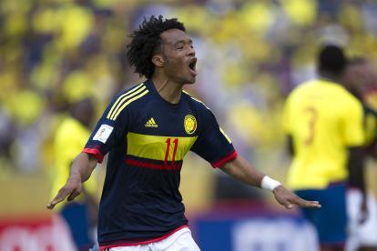 Juan Guillermo Cuadrado celebrando el segundo gol de la Selección Colombia frente a Ecuador.