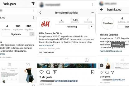 Usuarios en Instagram que han compartido y seguido las cuentas de las promociones.