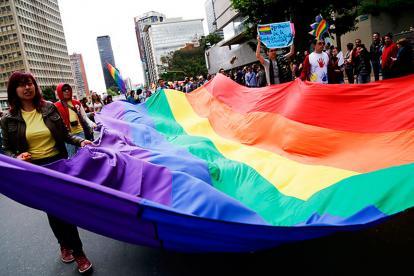 Miembros de la población LGBTI en protesta en 2014.