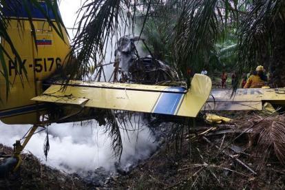 La aeronave se incendió luego de chocar contra cultivos del palma.