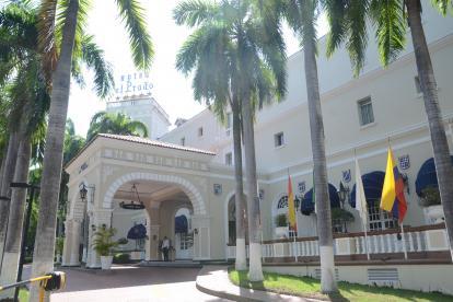 Fachada del Hotel El Prado, declarado patrimonio nacional.