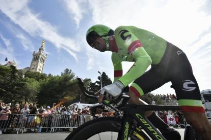 El antioqueño Rigoberto Urán durante su participación en la contrarreloj que definió el podio del Tour de Francia.