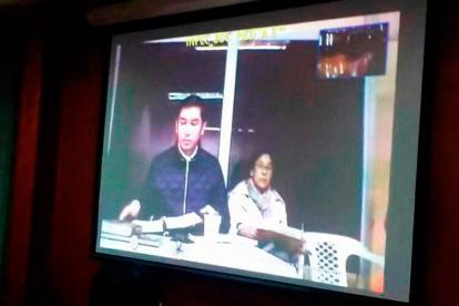 Luis Gustavo Moreno en teleconferencia durante la audiencia desde la cárcel La Picota.