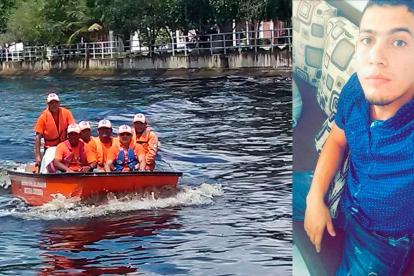Momentos en los que rescatan al joven Rafael Alemán Causil (a la derecha).