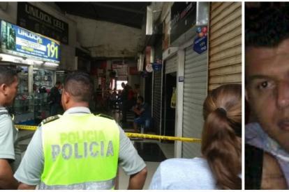 Policías en el centro comercial. Al lado Gustavo Adolfo Barrios.