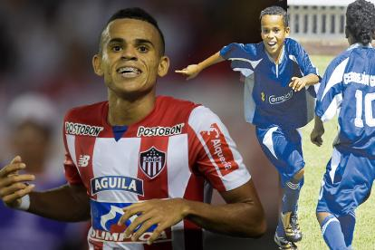 El guajiro Luis Díaz celebra su primer gol con el Junior ante Cerro Porteño. A su lado una imagen de un festejo en el Torneo Asefal de 2009 con El Cerrejón.