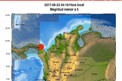 El mapa muestra el epicentro en Panamá