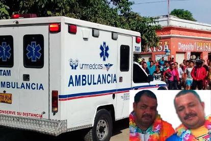 El doble homicidio se registró en este punto de Río Frío. En el recuadro,  Jair y Jhony Acosta Pérez, comerciantes asesinados.