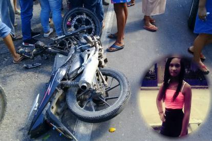 La motocicleta en la que se movilizaba Erlys Castro Ramírez, la joven que falleció.