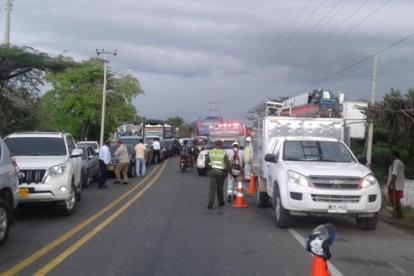 Vía Ciénaga-Barranquilla, durante una de las manifestaciones.
