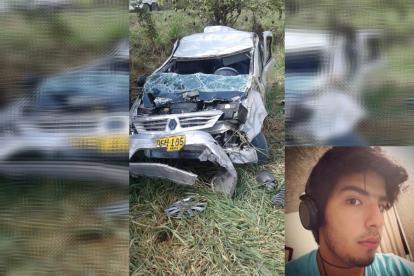 Estado en que quedó el vehículo en el que se movilizaba la familia samaria. En el recuadro David Eduardo Toro Salas, de 21 años, víctima mortal.