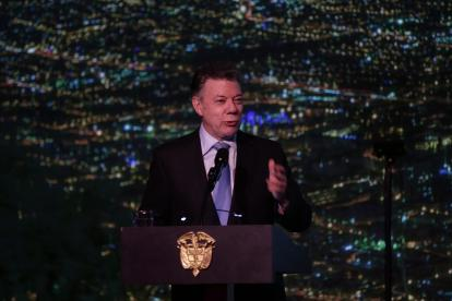 El presidente Santos, en la inauguración del centro de convenciones Ágora.