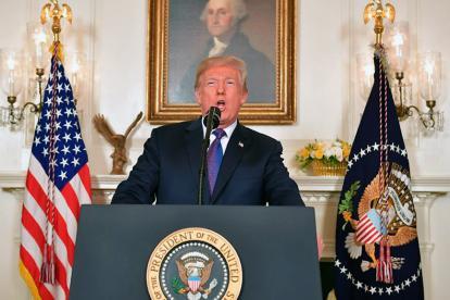 Donald Trump cuando anunciaba los ataques en Siria este viernes.