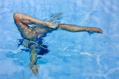 Una nadadora sirvió de modelo en la colección.