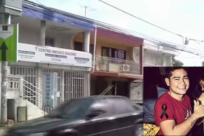 El consultorio en donde se registraron los hechos. En el recuadro, Anghelo Torres, asesinado.
