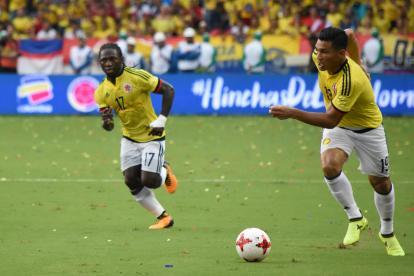 Yimmi Chará y Teófilo Gutiérrez jugaron algunos minutos juntos en la Selección durante el remate de la eliminatoria.