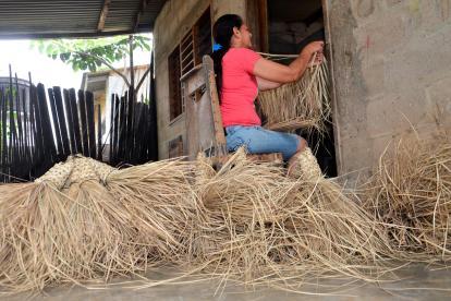 Celine Leonor Miranda aparece en plena labor en su casa, la adelanta todos los días desde hace 16 años.