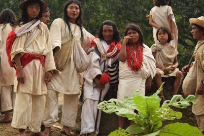 Un grupo de indígenas pertenecientes a la comunidad Kogui del pueblo Yincuámero.