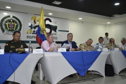 El presidente Duque en el consejo de seguridad de este viernes en Soledad.