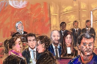 Dibujo de la audiencia de este martes.