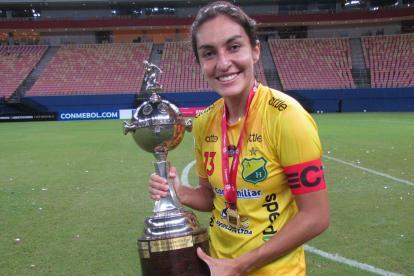 Atlético Huila Femenino se coronó campeón de la Copa Libertadores de América. En la foto: Gavy Santos.