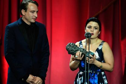 Los productores de 'Roma', Nicolas Celis y Gabriela Rodríguez, recibieron el premio.