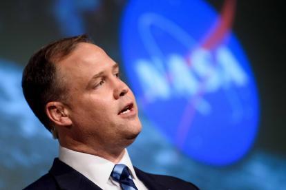 Jim Bridenstine, jefe de la agencia espacial, en conferencia de prensa.