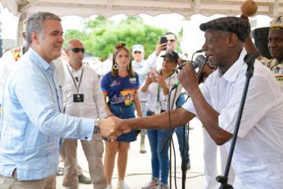 Recibimiento de la comunidad de San Basilio de Palenque al presidente Duque.