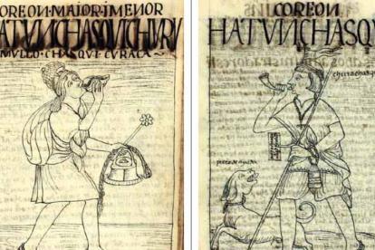 Dibujos de chasquis  o indígenas mensajeros hechos por el cronista de indias del Virreinato de Perú Felipe Guamán Poma de Ayala.