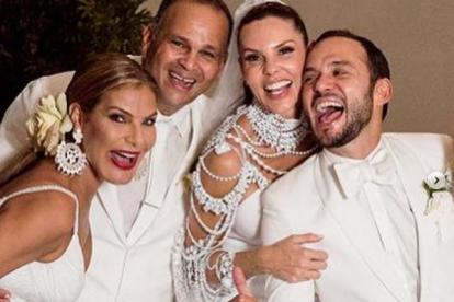 María Mónica Urbina y José Guillermo 'Ñeñe' Hernández el día de la boda de Paula Andrea Betancourt y Luis Miguel Zabaleta.