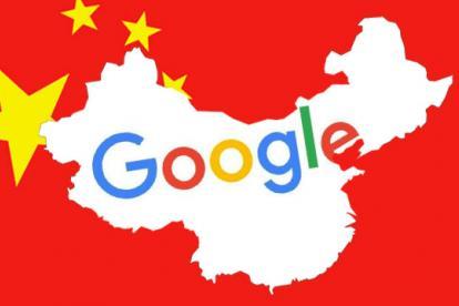 Google con mapa de china de fondo.