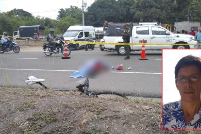 El cuerpo de Olmer Camargo sobre la vía.