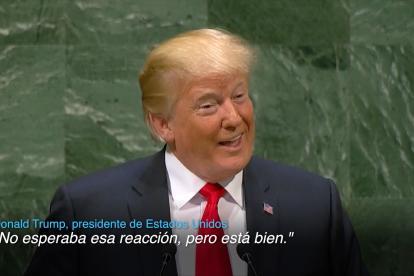 Donald Trump cuando intervenía este martes ante la Asamblea de la ONU.