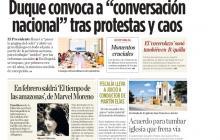 """Duque convoca a """"conversación nacional"""" tras protestas y caos"""