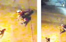 En las imágenes tomadas de video se observa a la mujer corriendo tras el intento de ataque del parrillero de la moto.