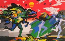 Telón de boca del teatro Amira de la Rosa, del artista Alejandro Obregón, titulado 'Se va el caimán' y que evoca la emblemática leyenda del Caribe.
