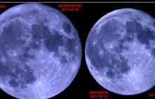 Ejemplo de la diferencia en tamaño de una superluna (izquierda) y una miniluna (derecha).