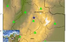 Este es el mapa publicado por la Red Sismológica Nacional de Colombia. En ella se observa con una estrella el epicentro del temblor registrado este martes.