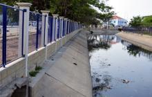 Imagen de un tramo de los trabajos de cerramiento de caños, en el Centro.