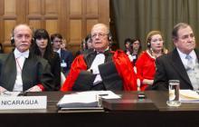Foto de la delegación nicaragüense en La Haya, cortesía de ICJ.